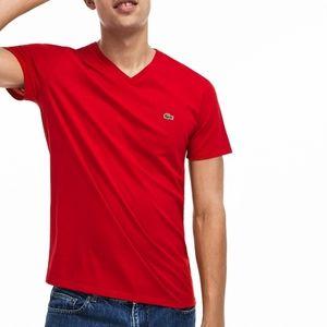 Lacoste Men's V-neck Pima Cotton Jersey Tee Shirt